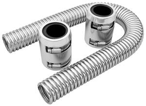 "1978-88 Malibu Radiator Hose, Stainless Steel (24"" with Polished Caps)"