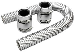 "1978-88 El Camino Radiator Hose, Stainless Steel (24"" with Chromed Caps)"