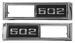 "1968-1968 El Camino Fender Emblem, 1968 ""502"" Marker Lamp Bezel ""502"""
