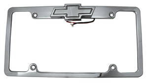 1978-88 Monte Carlo License Plate Frame with Tag Light (Billet Aluminum) Bowtie - Polished