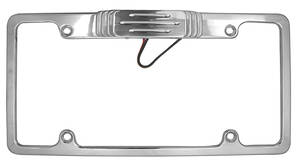 1959-1976 Bonneville License Plate Frames, Billet Aluminum (w/Tag Lights) Polished
