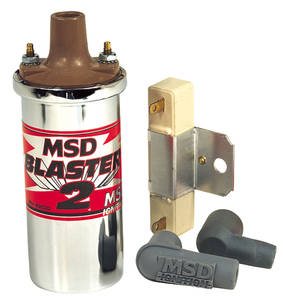 1961-1973 LeMans Ignition Coil Kit, Blaster 2 Points Chrome Coil, by MSD
