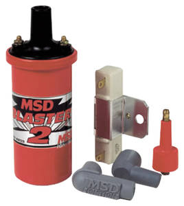 1959-1976 Bonneville Ignition Coil Kit, Blaster 2 Points Red, w/Ballast (1.5 OHMS), by MSD
