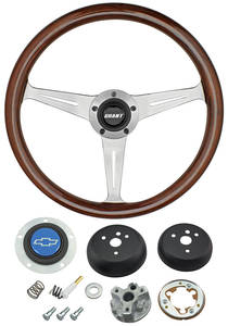 1964-65 Chevelle Steering Wheel, Mahogany Blue Bowtie 3-Spoke