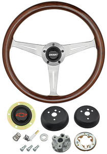 1964-65 Chevelle Steering Wheel, Mahogany Red Bowtie 3-Spoke