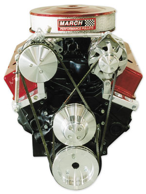 1964-1968 Chevelle V-Belt Pulley Set, Short Water Pump Small-Block, by March Performance