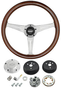 1964-1965 Chevelle Steering Wheel, Mahogany Polished Billet 3-Spoke, by Grant