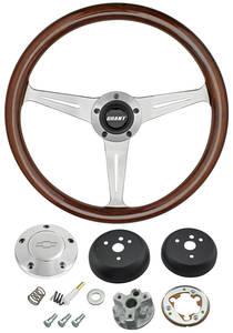 1964-65 Chevelle Steering Wheel, Mahogany Polished Billet 3-Spoke, by Grant