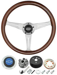 1966 Chevelle Steering Wheel, Mahogany Blue Bowtie 3-Spoke