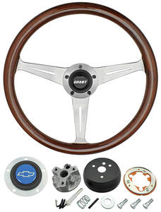 1966 Chevelle Steering Wheel, Mahogany Blue Bowtie 3-Spoke, by Grant