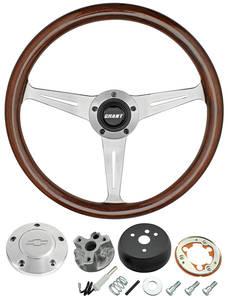 1966-1966 Chevelle Steering Wheel, Mahogany Polished Billet 3-Spoke, by Grant