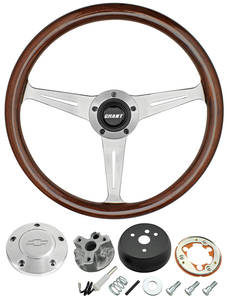 1966 Chevelle Steering Wheel, Mahogany Polished Billet 3-Spoke, by Grant