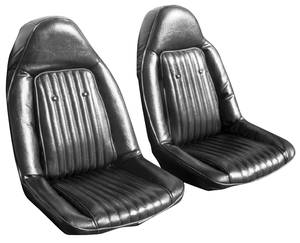 1973-1973 Chevelle Seat Upholstery, 1973 Chevelle Super Sport Buckets w/Coupe Rear (Vinyl/Velour)