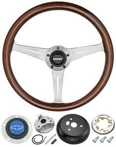 1978-88 Malibu Steering Wheel, Mahogany 3-Spoke w/Blue Bowtie, by Grant