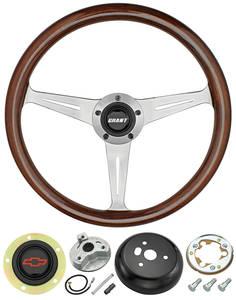 1978-88 Monte Carlo Steering Wheel, Mahogany 3-Spoke w/Red Bowtie, by Grant