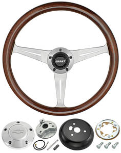 1978-88 Malibu Steering Wheel, Mahogany 3-Spoke w/Polished Billet, by Grant