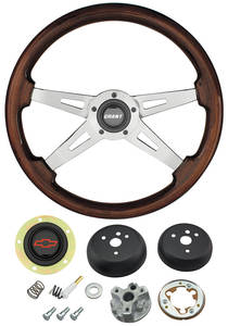 1964-65 Chevelle Steering Wheel, Mahogany Red Bowtie 4-Spoke