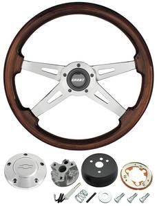 1966 Chevelle Steering Wheel, Mahogany Polished Billet 4-Spoke, by Grant