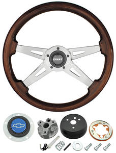 1967-68 Chevelle Steering Wheel, Mahogany Blue Bowtie 4-Spoke
