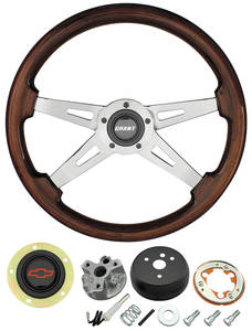 1967-1968 Chevelle Steering Wheel, Mahogany Red Bowtie 4-Spoke