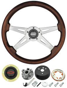 1967-68 El Camino Steering Wheel, Mahogany Red Bowtie 4-Spoke, by Grant