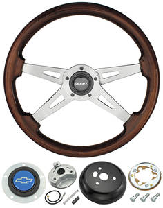 1978-1983 Malibu Steering Wheel, Mahogany 4-Spoke w/Blue Bowtie, by Grant