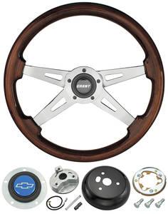 1978-88 Malibu Steering Wheel, Mahogany 4-Spoke w/Blue Bowtie, by Grant