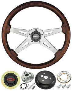 1978-88 Malibu Steering Wheel, Mahogany 4-Spoke w/Red Bowtie, by Grant
