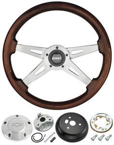 1978-88 Malibu Steering Wheel, Mahogany 4-Spoke w/Polished Billet, by Grant