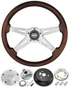 1978-88 Monte Carlo Steering Wheel, Mahogany 4-Spoke w/Polished Billet, by Grant