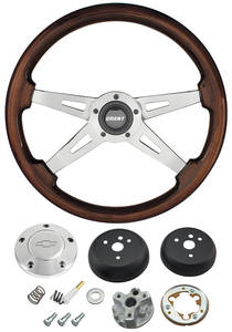 1964-1965 Chevelle Steering Wheel, Mahogany Polished Billet 4-Spoke, by Grant