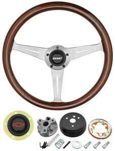 1967-68 Chevelle Steering Wheel, Mahogany Red Bowtie 3-Spoke, by Grant