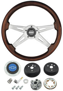 1964-65 Chevelle Steering Wheel, Mahogany Blue Bowtie 4-Spoke