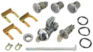 1968-1968 Chevelle Ignition, Doors, Glove Box & Trunk Lock Set Octagon Keys