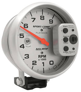 1964-73 GTO Tachometers, Sport-Comp Playback 9,000 Rpm (Silver Playback), by Autometer