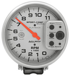 1961-72 Skylark Tachometer, Sport Comp Playback 11,000 Rpm (Silver Playback), by Autometer