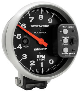 1978-87 El Camino Tachometer, Sport-Comp Playback 9,000 Rpm (Black), by Autometer