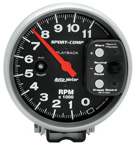 1978-87 Malibu Tachometer, Sport-Comp Playback 11,000 Rpm (Black)