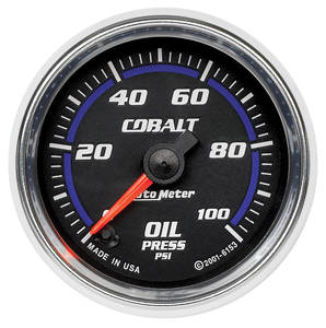 1964-1973 GTO Gauges, Cobalt Oil Pressure (0-100 Psi) Includes Sender & Fittings, by Autometer