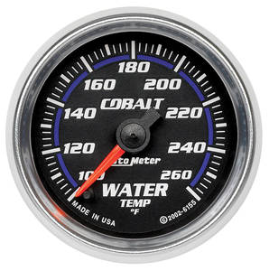 1964-73 Tempest Gauges, Cobalt Water Temperature (100-260°F) Includes Sender & Fittings