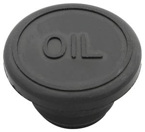 "1978-88 Malibu Oil Filler Hole Cap - Rubber With ""Oil"" Logo (1-1/4"" Hole)"