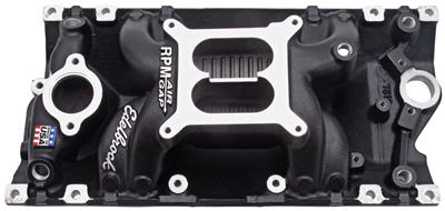 1964-77 Chevelle Intake Manifold, RPM Air Gap Vortec Satin, by Edelbrock