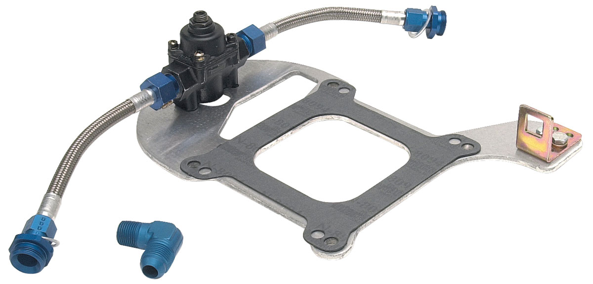 Photo of Grand Prix Fuel Pressure Regulator Kit single regulator, dual outlet, standard flange w/GM throttle bracket