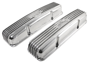 1964-1977 Chevelle Valve Covers, Classic Aluminum Small-Block W/O Holes, by Edelbrock
