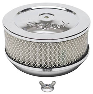 "1959-77 Grand Prix Air Cleaner, Pro-Flo Chrome 6"" X 3-5/8"", w/5-1/8"" Base, by Edelbrock"