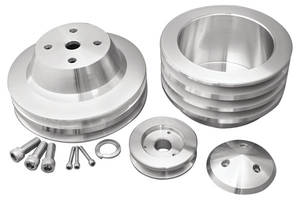 1969-77 Chevelle V-Belt Pulley Sets, Long Water Pump (Big-Block), by March Performance