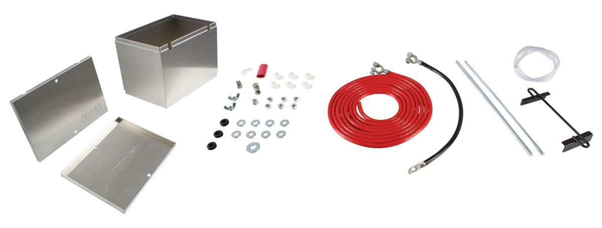 "Photo of Battery Box Kit, Aluminum 13-1/2"" X 9-1/2"" X 10"" Box W/O Logo w/16' 2-gauge cables"