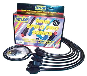 1964-77 El Camino Spark Plug Wire Set, 8 mm Spiro Pro Race Fit Under Headers (Small-Block, 90°) Socket (Blue), by Taylor