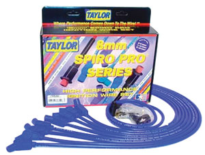 1964-77 El Camino Spark Plug Wire Set, 8 mm Spiro Pro Race Fit Over Valve Cover (Big-Block, 135°) HEI (Blue), by Taylor