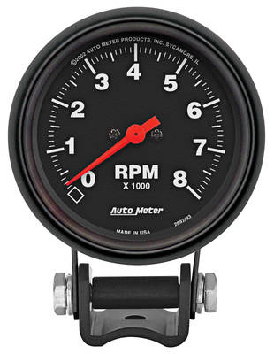 "1959-77 Grand Prix Tachometer, 2-5/8"" Mini Black"